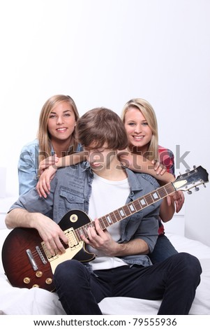 teenagers with guitar - stock photo