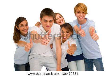 teenagers with thumbs up - stock photo