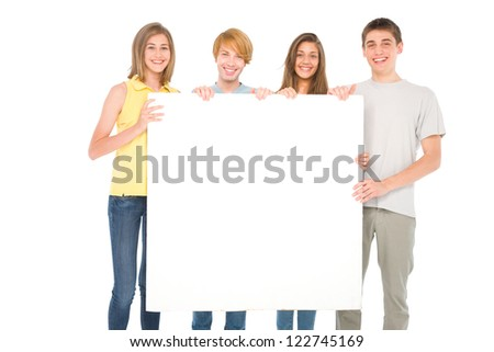 teenagers with white panel - stock photo