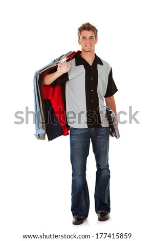 Teens: Cool College Guy Carrying Clothing