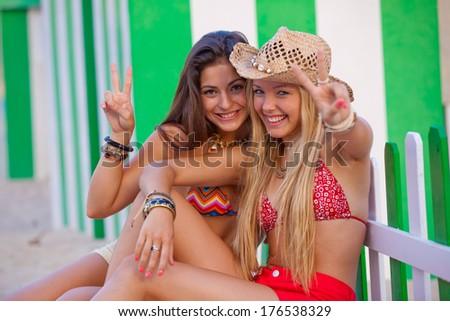 teens love Ibiza - stock photo