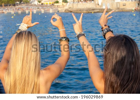 teens love summer vacation or spring break - stock photo