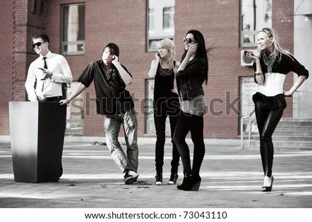 Teens on the phones - stock photo
