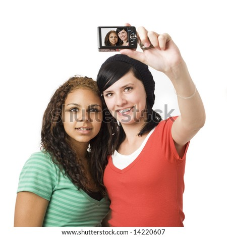 Teens take self portrait with a digital camera