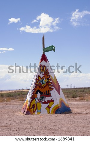 teepee with designs in the fields of  Arizona, USA - stock photo