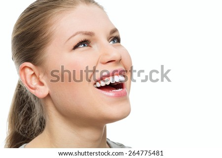 Teeth and gums treatment. Fresh breath. Portrait of attractive Caucasian woman with perfect smile.  - stock photo
