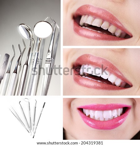 Teeth care concept. Healthy teeth and dental tools. - stock photo