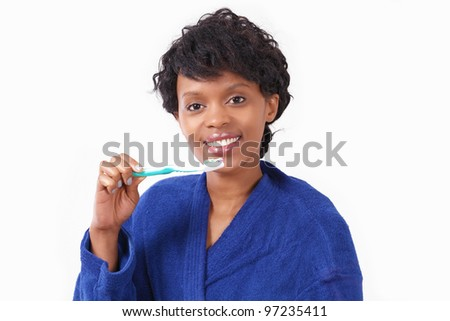 Teeth care smiling woman with toothbrush