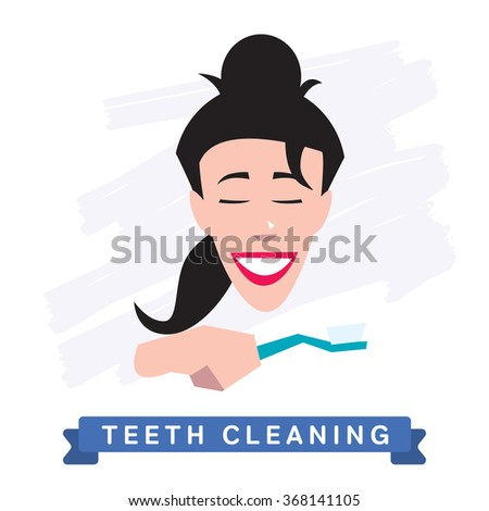 Teeth Cleaning. Morning routine, Hygiene, Clean Teeth, Toothbrush, Toothpaste. Beautiful Smile healthy teeth. Clean teeth - the guarantee of health. - stock photo