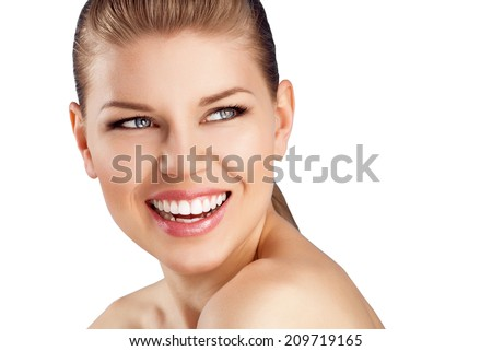 Teeth whitening and cure. Close-up of happy woman with healthy smile isolated over white background.  - stock photo