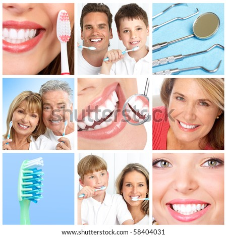 teeth whitening, tooth brushing, dental care - stock photo