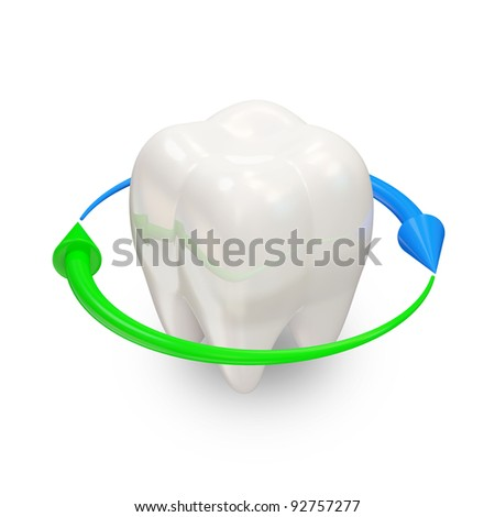 Teeth with arrows on white background (Teeth Protection Concept) - stock photo