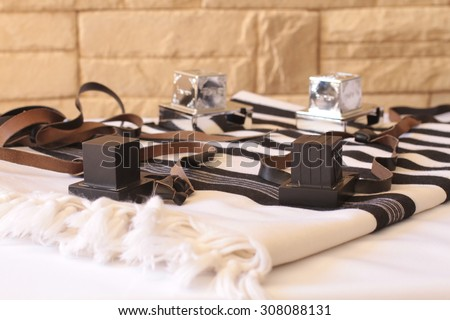 Tefilin and   Talit - Jewish prayer objects  - stock photo