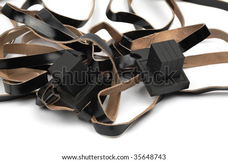 Tefillin, isolated. Used for a jewish prayer - stock photo