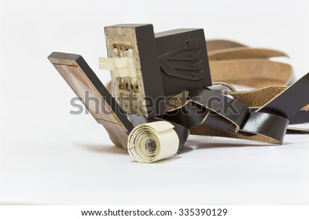 Tefillin manufacturing process. Leather - stock photo