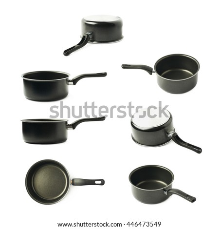 Teflon coated black sauce pan isolated over the white background, set of seven different foreshortenings - stock photo