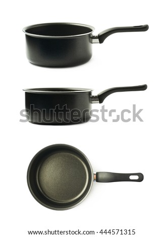 Teflon coated black sauce pan isolated over the white background, set of three different foreshortenings - stock photo