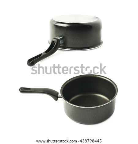 Teflon coated black sauce pan isolated over the white background, set of two different foreshortenings - stock photo