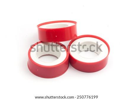 Teflon tape with white background - stock photo