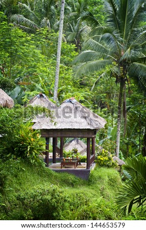 Tegallalang, Ubud, Bali. A beautiful spot to admire the dramatic Balinese terraced rice fields. These sitting areas are called Bale and are seen all over the island. - stock photo