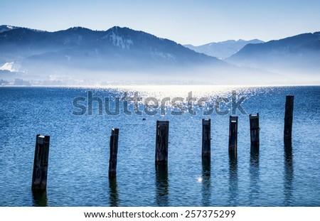tegernsee lake in bavaria - winter - stock photo