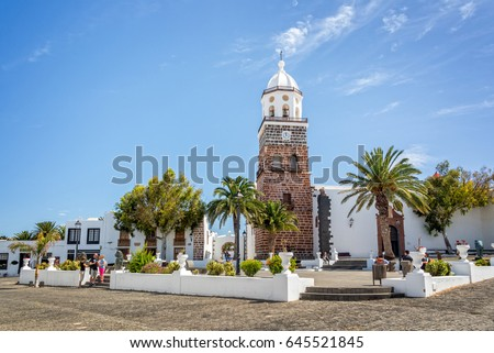 TEGUISE, SPAIN - APRIL 11: Church and public square of the town of Teguise in Lanzarote, on April 11,2017 in the Canary islands, Spain