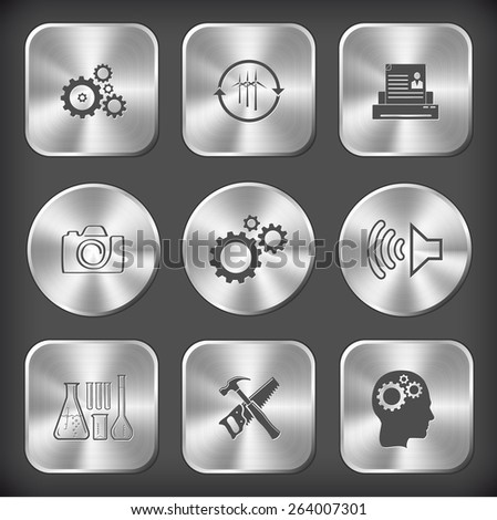 Tehnology set. Raster round and square steel buttons. - stock photo