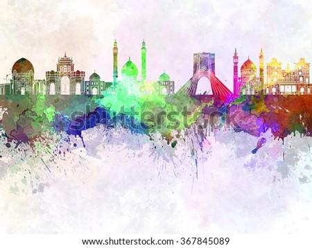Tehran skyline in watercolor background - stock photo