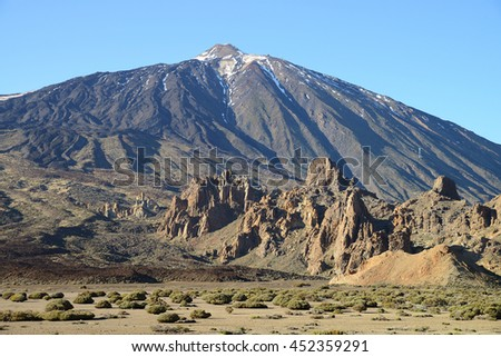 Teide at sunset, Parque Nacional del Teide, Tenerife, Canary Islands, Spain - stock photo