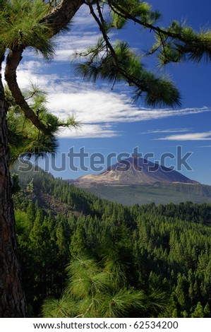 Teide hill and Orotava valley, Tenerife, Spain - stock photo