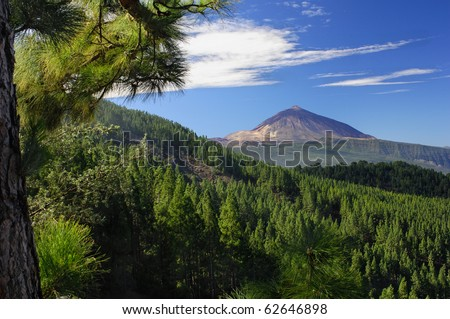 Teide mountain and Orotava valley, Tenerife, Spain - stock photo