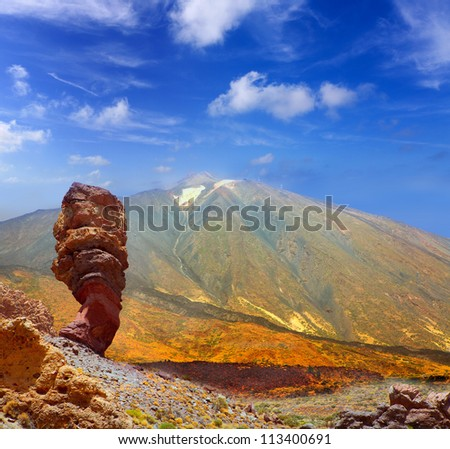Teide National Park Roques de Garcia in Tenerife at Canary Islands - stock photo