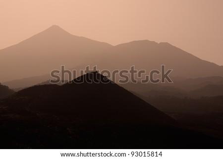 Teide silhouette in orange - stock photo