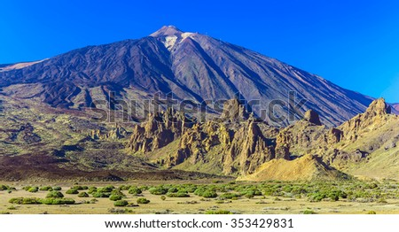 Teide Volcano Landscape in National Park on Tenerife Island in Spain at Sunny Day with Sky