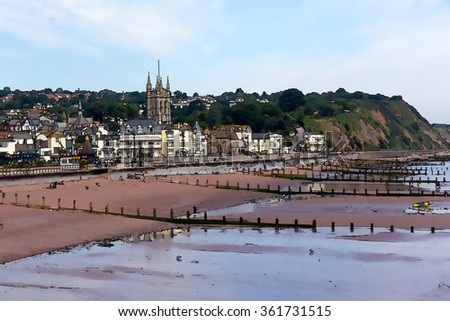 Teignmouth south coast Devon tourist town with blue sky a colourful traditional English coastal scene illustration like cartoon