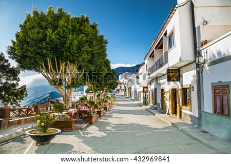 TEJEDA, GRAN CANARIA, SPAIN-MAY 17, 2016: Main street in Tejeda village on May 17, 2016. at Gran Canaria, Spain. - stock photo