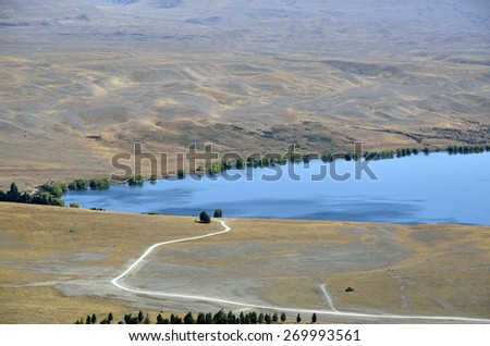 Tekapo lake view from Mount John lookout in New Zealand. - stock photo
