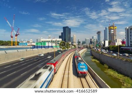 Tel Aviv And Ramat Gan Cityscape - Ayalon Freeway At Day - stock photo