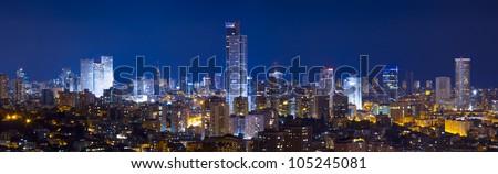 Tel Aviv and  Ramat Gan Skyline - Panoramic shot - stock photo