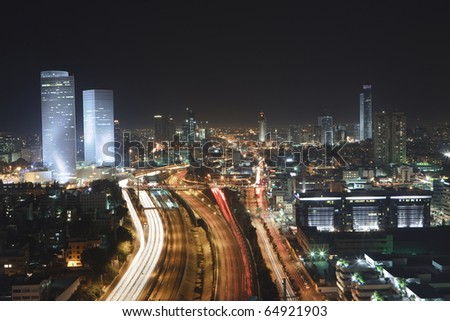 Tel Aviv  at Night - Tel Aviv Office Building - stock photo