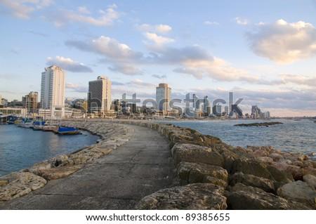 Tel Aviv beach and Marina - stock photo