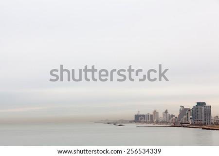 Tel-Aviv beach at the morning - stock photo