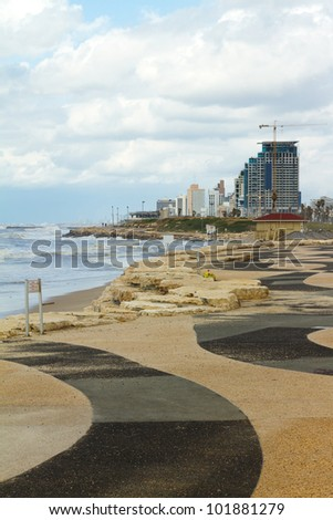 Tel-Aviv beach panorama.Jaffa. Israel. - stock photo