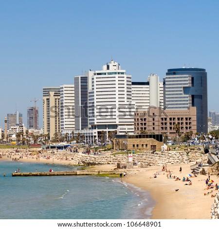 Tel Aviv beach panorama.Jaffa. Israel. - stock photo