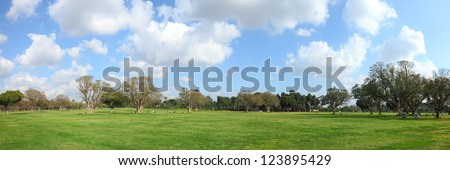 Tel Aviv city public park panoramic view. Israel - stock photo