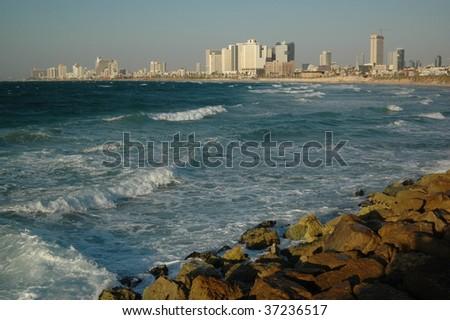 Tel Aviv coast - stock photo