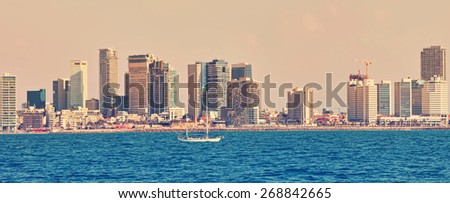 Tel Aviv coast panoramic view. Mediterranean, Middle East, Israel. Image done in vintage retro instagram style - stock photo