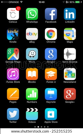 TEL AVIV - FEB 13, 2015: High resolution Apple and other common iOS 8 icons on iPhone 6 / 6 Plus, isolated on black and ready to cut and use - illustrative editorial - stock photo