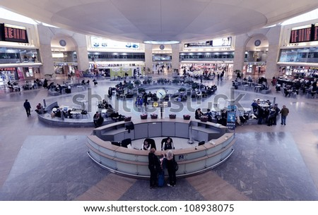 TEL AVIV - FEBRUARY 22: Ben Gurion International Airport February 22, 2012 in Tel Aviv, IL. It is the largest airport in Israel with over 13 million passengers in 2011. - stock photo