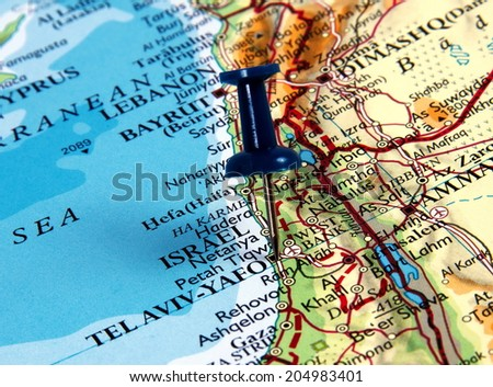 Tel Aviv  in the map with pin - stock photo